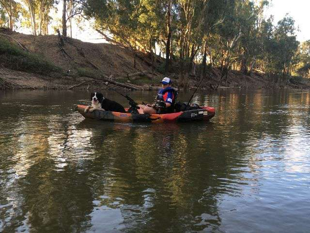 A photograph of a young man and a border collie in a kayak fishing on a river.