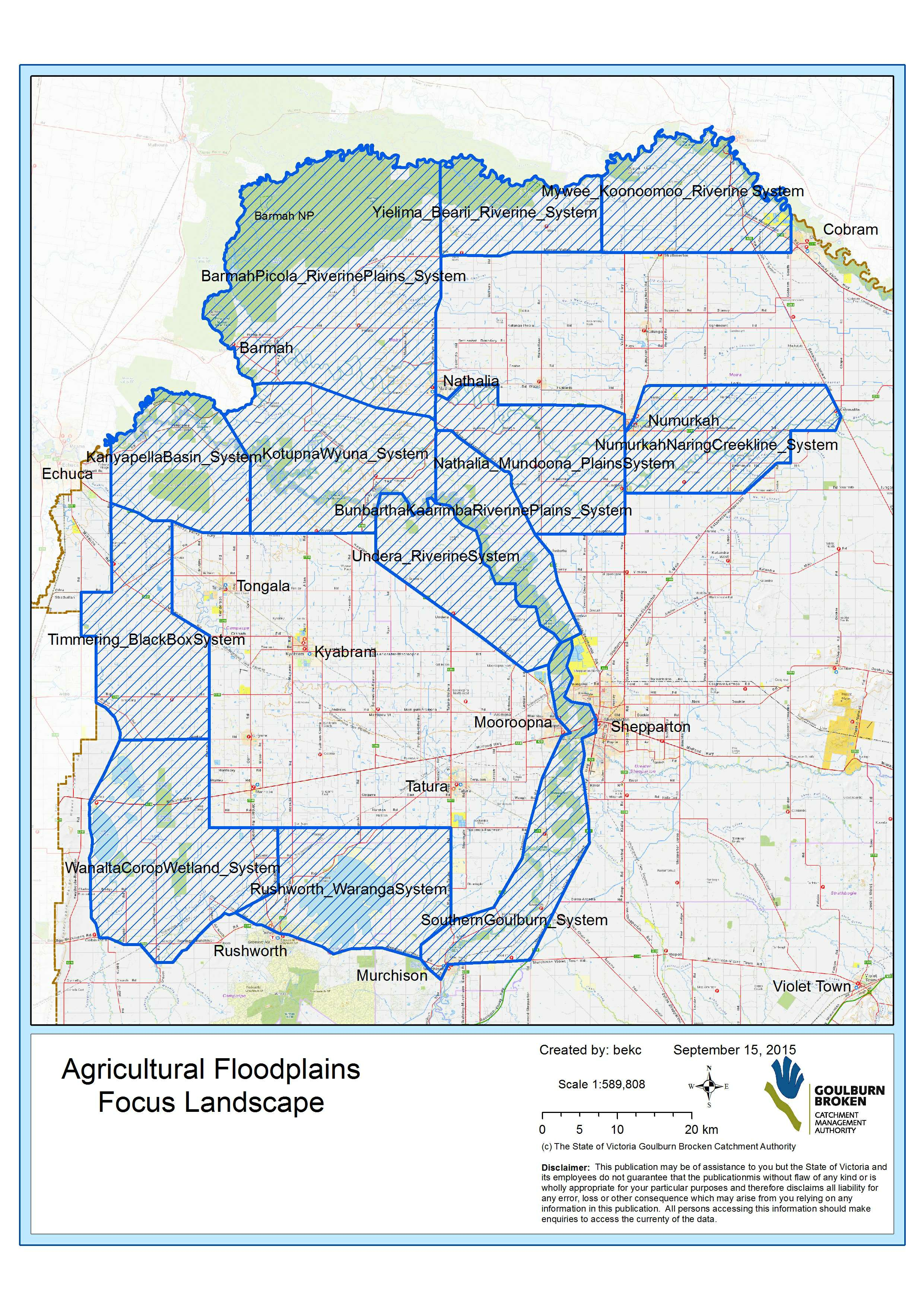 Focal landscapes map for the Agricultural Floodplains